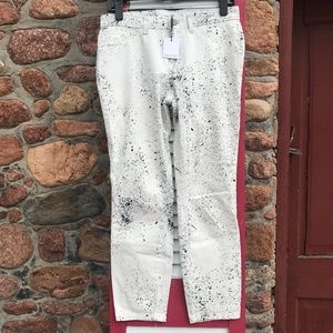 SALE! Calvin Klein White Pants with Black Spatter